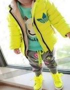 Dziecięca jesienno zimowa kurteczka neon adidas
