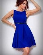 CHABROWA rozkloszowana sukienka PASEK S 36