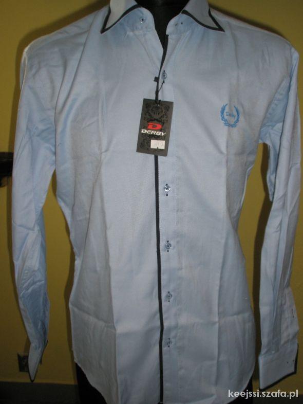 męska niebieska koszula na długi rękaw