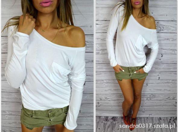 Bluzki bluzka opadajaca na ramie