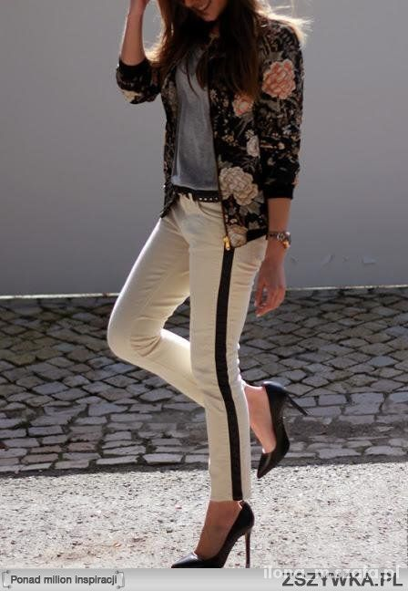 zara białe spodnie z lampasami