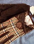 Rękawiczki retro zamsz i tkanina