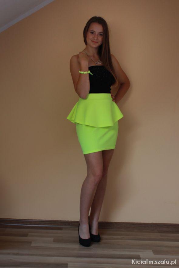 b634d4f459d063 Neonowa baskinka yellow zółta mini w Spódnice - Szafa.pl