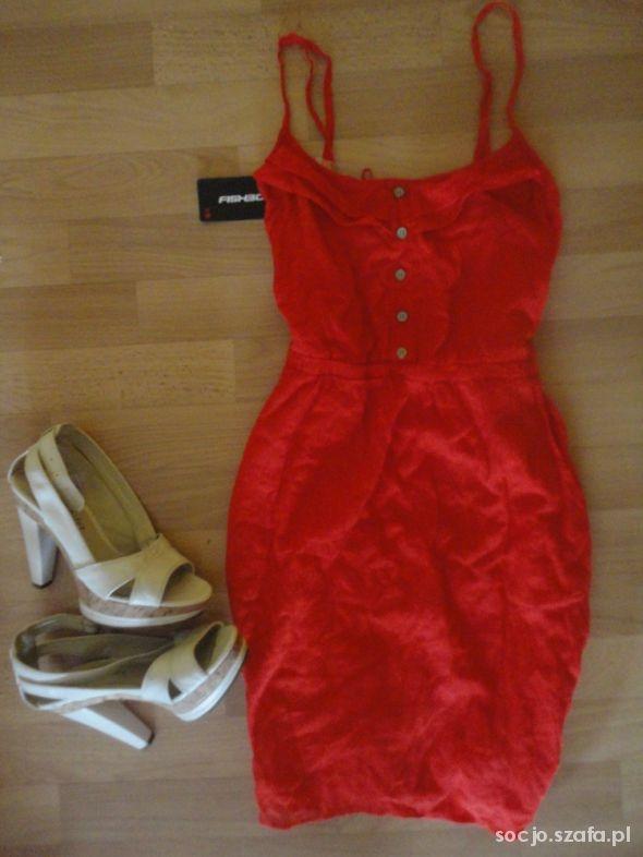 Suknie i sukienki Nowa koralowa falbanki podszewka Fishbone