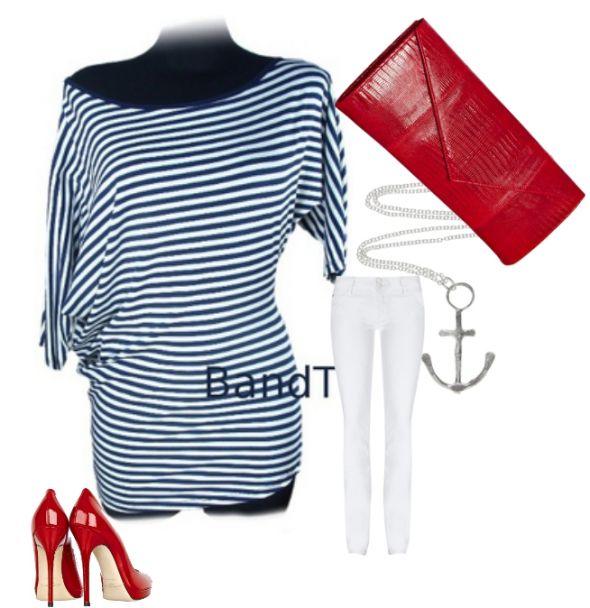 Do pracy Nowa bluzka tunika w paski marynarski styl granat