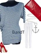 Nowa bluzka tunika w paski marynarski styl granat...