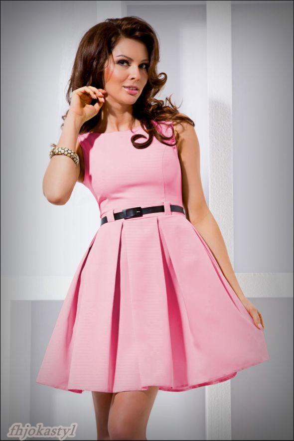 JOKASTYL RÓŻOWA rozkloszowana sukienka PASEK S 36