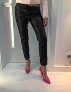 Włoskie skórzane czarne dresy spodnie