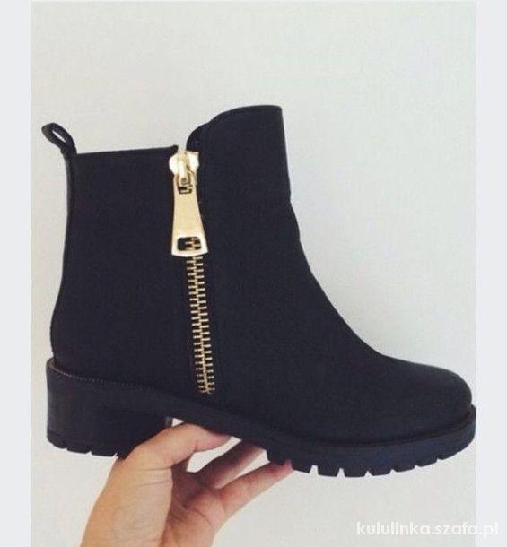 Szukam Szukam czarnych botków złoty zip