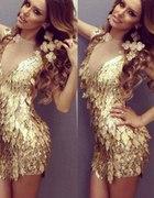 Złota sukienka CEKINY
