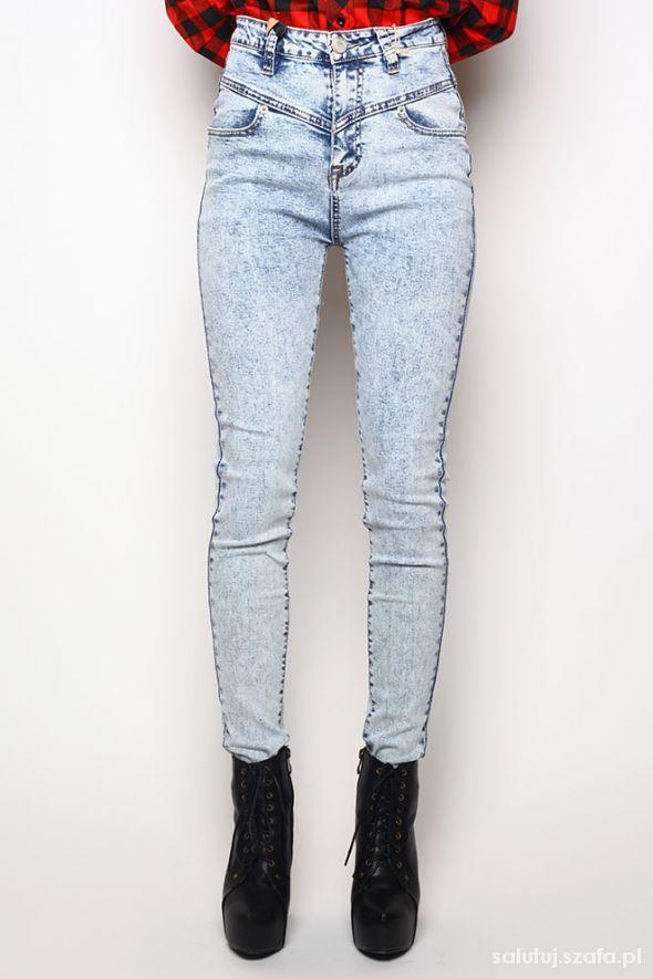 5f71dd93e3520e spodnie marmurki wysoki stan niebieskie jeans w Ubrania - Szafa.pl
