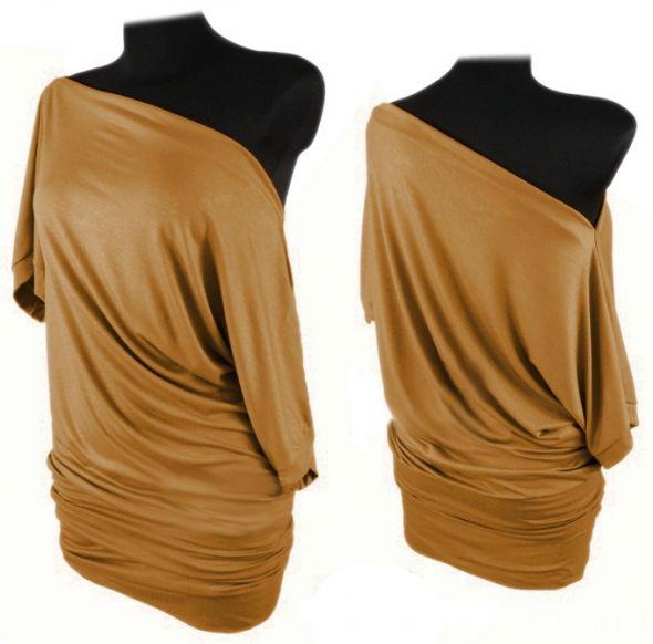 Do pracy Cyamonowa tunika bluzka oversize