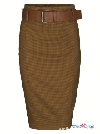 brązowa spódnica top secret w kratkę...