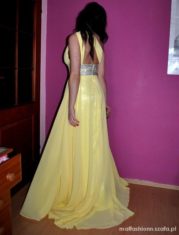Suknie i sukienki Przepiękna Kanarkowa Maxi sukienka