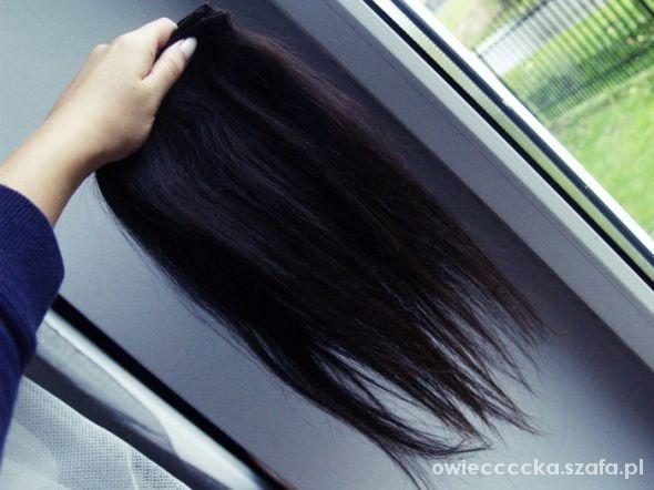 Ozdoby na włosy clip in włosy naturalne ciemny brąz 2