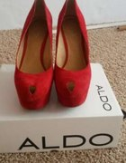 Czerwone skórzane koturny Aldo 41