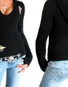 sexy sweter czarny z kapturem funky diva...
