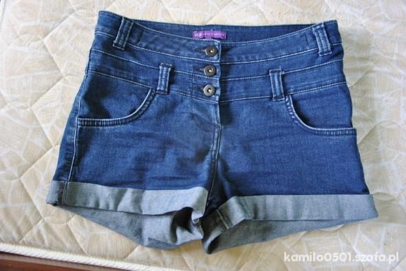 spodenki S wysoki stan jeansowe guziki
