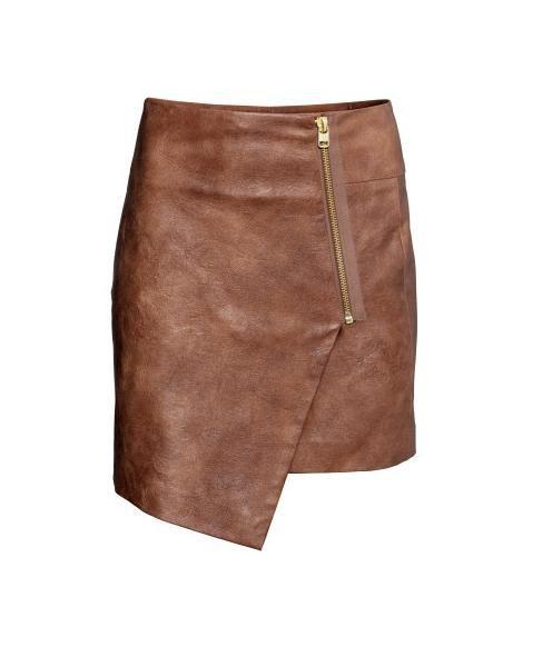 Spódnice Spódnica H&M skóra brązowa