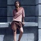 Spódnica H&M skóra brązowa