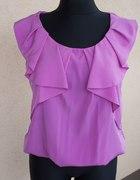 Bluzka z falbanką liliowa fioletowa Mango