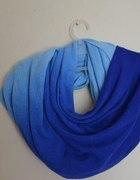 trójkolorowy niebieski ciepły szalik