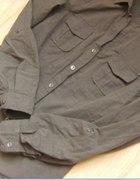 militarna khaki koszula z pagonami lindex