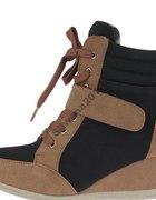 Sneakersy camelowo czarne 37 38 39 40