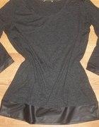 Szara bluzka ze skórzaną wstawką Orsay XS