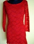 Koronkowa czerwona sukienka rozm uniwersalny