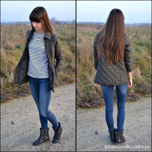 Blogerek Pikowana kurtka i bluzka w paski