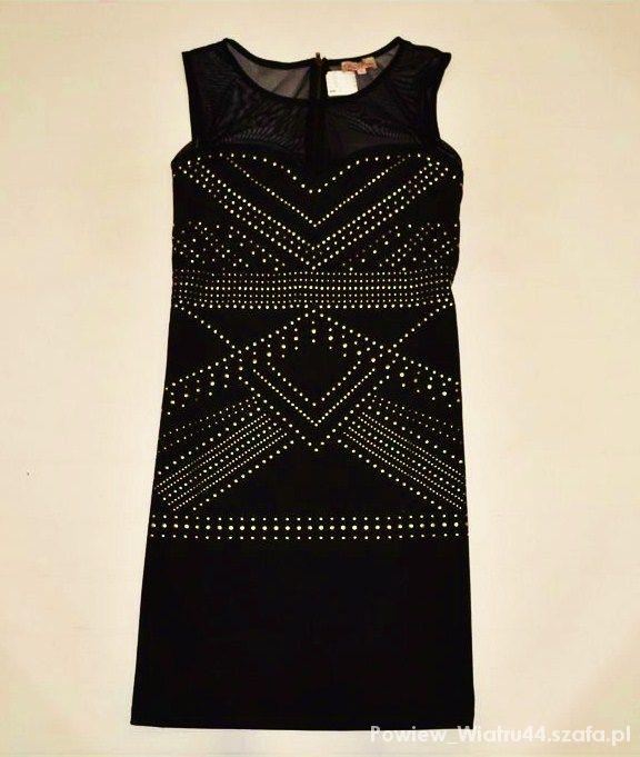 sukienka mała czarna z nitami...