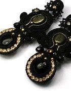 Kolczyki złoto czarny glamour sutasz soutache