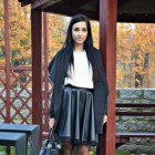leather skirt white sweater