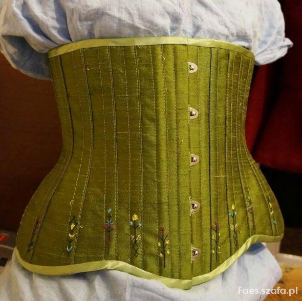 Zielony jedwabny underbust od Corsetry&Romance