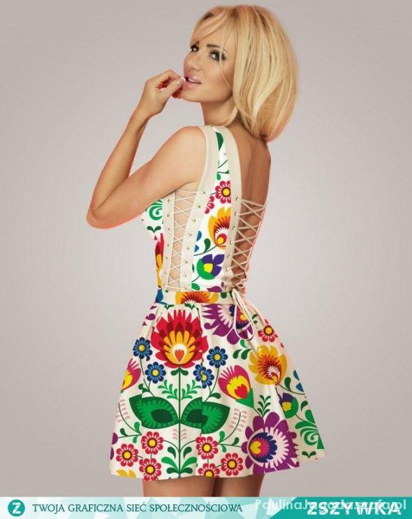 Ubrania Sukienka w łowickie kwiaty FOLK
