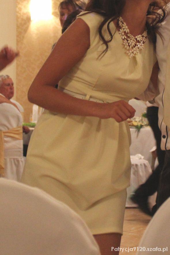 cytrynowa sukienka i biel