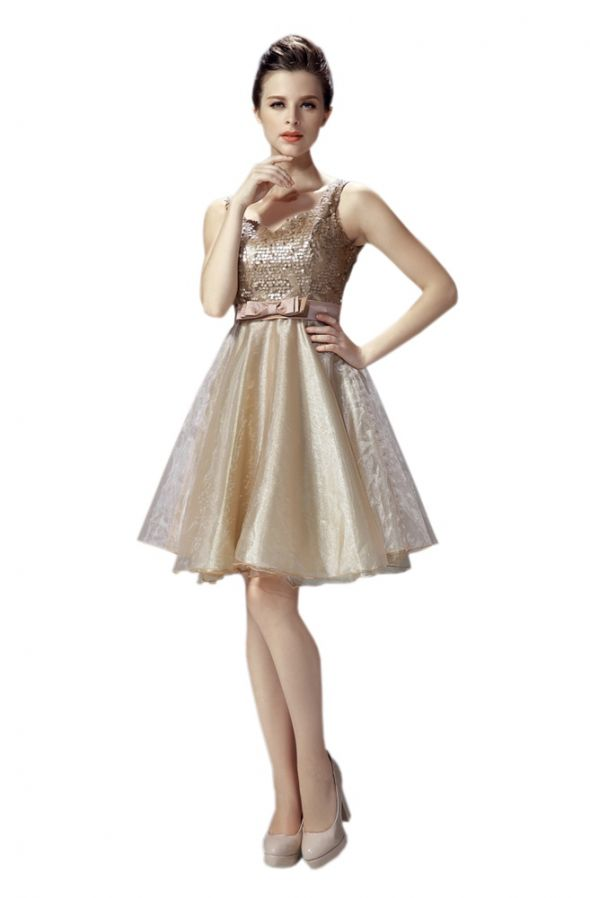 Eleganckie Złota sukienka