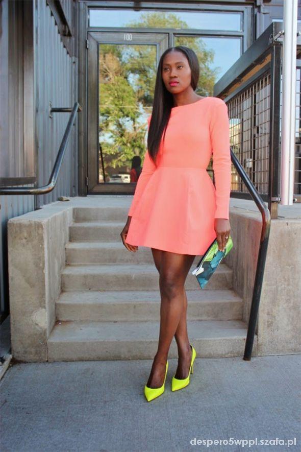 Sukienka ASOS rozkloszowana neon