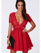 Sukienka koronka koronkowa czerwona Missquided