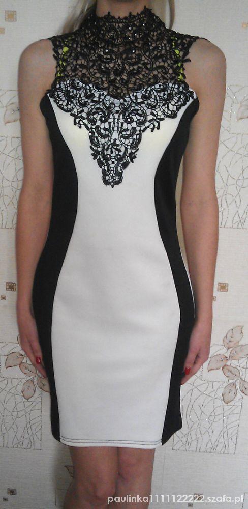 da48cd9af7 Czarno biała sukienka wyszczuplająca z koronką w Suknie i sukienki ...