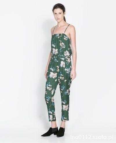 Kombinezon Zara BAsic Zielony Kwiaty...