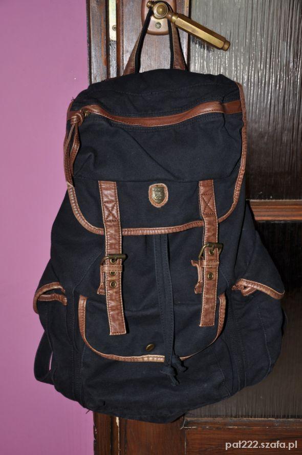 f6a0347d9ef3d plecak vintage skórzane wstawki granatowy retro w Plecaki - Szafa.pl