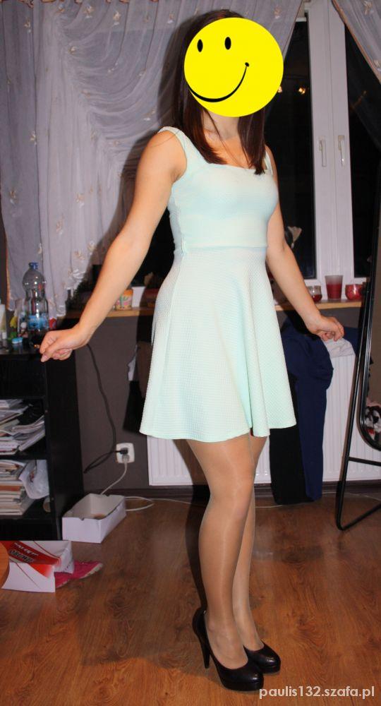 Imprezowe miętowa sukienka