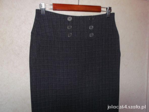 Spódnice Popielata ołówkowa spódnica w kratkę 36