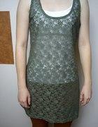 koronkowa tunika zielona khaki L XL oversize
