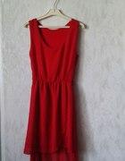 czerwona asymetryczna sukienka