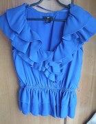 elegancka kobaltowa bluzka H&M z falbankami
