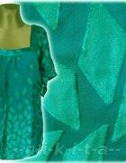 Morska seledynowa szyfonowa i satyno bluzka kimono...