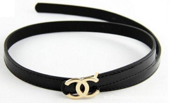 Pasek Chanel czarny wąski skórzany złota klamra